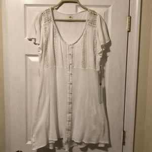 White button up mini dress